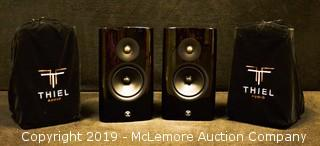 Pair of Black TM3 Speakers by Thiel Audio with Stands