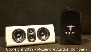 White TC1 Speaker by Thiel Audio with Stand