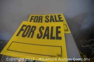 Set of Two Yellow For Sale Signs