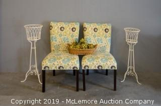 Set of Two Decorative Chairs with Plant Stands