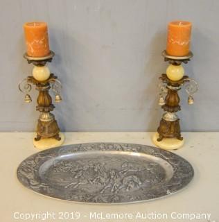 Silver Decorative Platter and Candlesticks