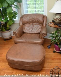 Leather Arm Chair and Matching Ottoman