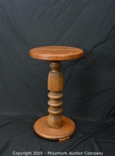 Antique Single Pedestal Accent Table