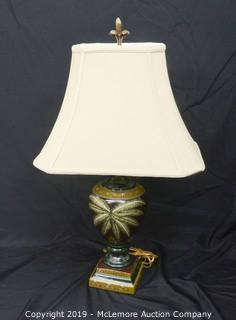 Hand Painted Palm Motif Lamp