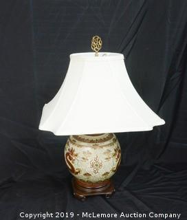 Haand Painted Asian Motif Lamp