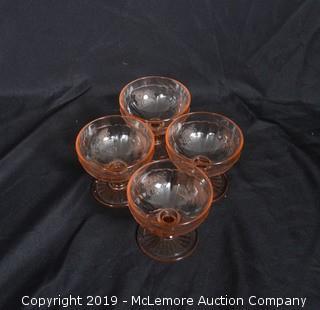 Peach-Glass Sherbet Cups