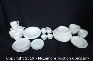 Assortment of White Dishes of Various Makes