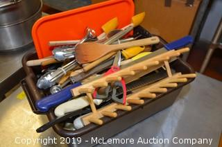 Assorted Kitchenware: Knives, Wood Spoons, Spatulas, Graters, Scissors
