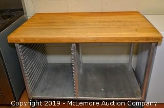 Butcher Block Top Table with Pan Storage on Casters