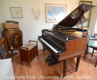 Player Piano with Accompanying Scroll Cabinet and Upholstered Bench