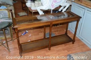 Wood and Glass Hallway Table