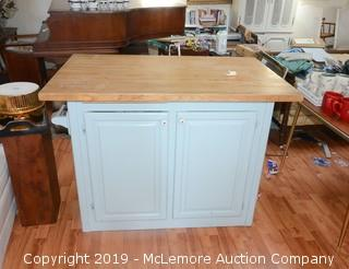 Rolling Butcher Top Kitchen Island with Contents