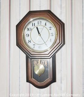 """Heirloom """"Regulator"""" Wood Wall Clock"""