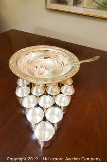 Silver-Plate Punch Bowl and Cups