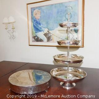 Four Tier Desert Display with Metal Cake Stand