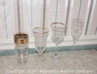 (x32) Gold Rimmed Drinking Glasses