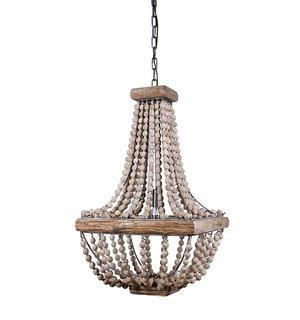 Creative Coop Wood & Metal Framed Chandelier with Wood Bead Draping
