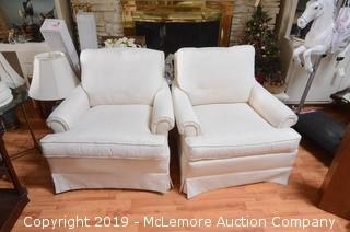 (x2) White Upholstered Over Sized Arm Chairs