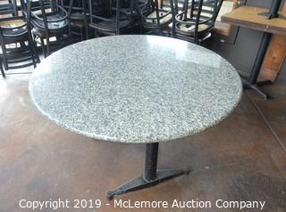 Round Double Pedestal Marble Table