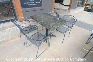 Marble Top Pedestal Table and Metal Chairs