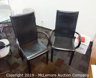 (x2) Arper Italian Leather Chairs