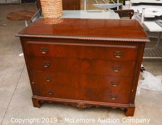 Solid Wood Chest of Drawers with Glass Top