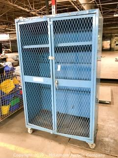 Metal Cabinet with Mesh Doors on Casters