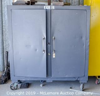 Metal Storage Cabinet with Shelves on Casters