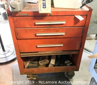 Kennedy Metal Tool Cabinet on Casters with Contents in Drawers