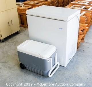 Haier Chest Freezer and Igloo Rolling Cooler