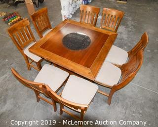Solid Wood Drop Leaf Dining Table with Marble Lazy Susan and Under Storage