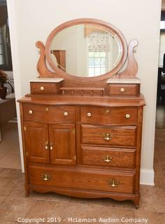 Solid Wood Chest of Drawers with Mirror