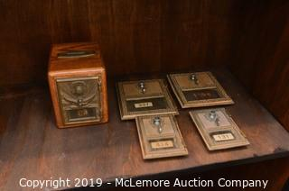Antique Solid Wood PO Box Bank with Other PO Box Doors