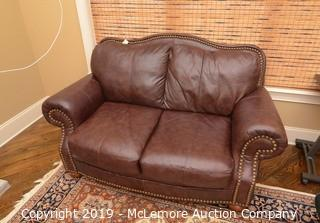 Tufted Leather Love Seat
