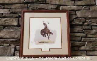 "Frederic Remington ""A Running Bucker"" Framed Print"