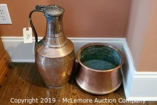 Copper Urn and Bowl