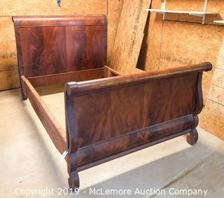 Mid 1800 Mahogany Antique Full Size Sleigh Bed