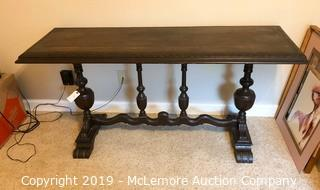 Antique Wooden Table with Hand Carved and Turned Base and Legs