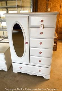 Dresser with 6 Drawers and Side Cabinet with Glass Pink Pulls