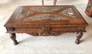 Wooden Coffee Table with Marble Top and Ornate Trim and Legs
