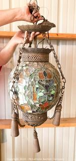 Large, Ornate Stain Glass Globe Chandelier
