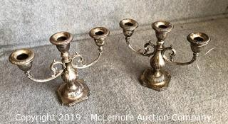 Pair of Crown Sterling 3 Candle Holders