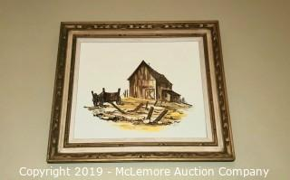 Framed Hand Painted Scene Depicting a Barn