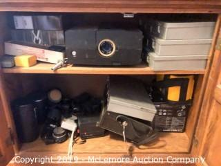 Slide Projector, Camera Equipment and Slide Boxes - LATE EDITION