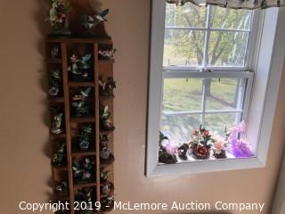 Assortment of Humming Bird Figurines and Wooden Display Shelf - LATE EDITION
