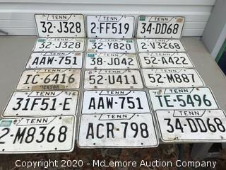(18) 1970s TN License Plates