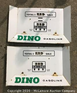 (2) 'Dino' Sinclair Porcelain Gas Pump Face Plate Signs