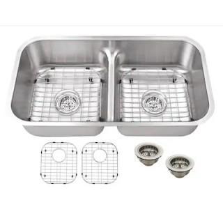Superior Sinks Brushed Satin Double Equal Bowl Undermount Kitchen Sink