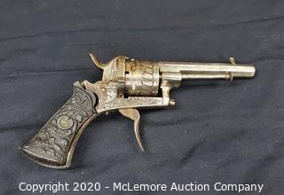 Antique Pin Fire Revolver with Cartridges