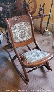 Solid Wood Upholstered Antique Rocking Chair